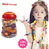 230 PCS Snap Beads Set - Picowe Kids' Jewelry Making Kits for Necklace and Bracelet for Girls Art Crafts Gift Toys
