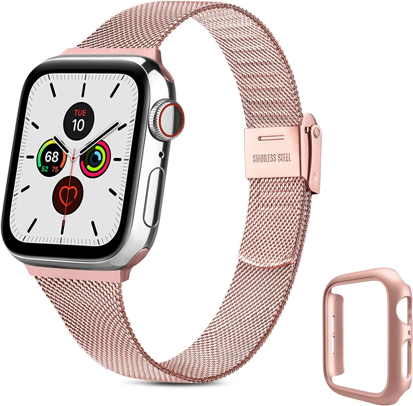 YILED Slim Bands Compatible for Apple Watch 40mm with Protective Case, Adjustable Stainless Steel Mesh Replacement Strap for iWatch SE Series 6/5/4 (Rose Pink, 40mm)
