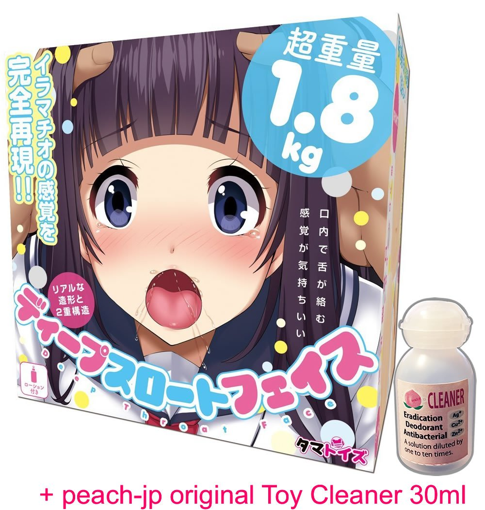 Tamatoys Deep Throat Face Real Tongue Blow Job Onahole / Japanese Masturbator & peach-jp original Toy Cleaner 30ml