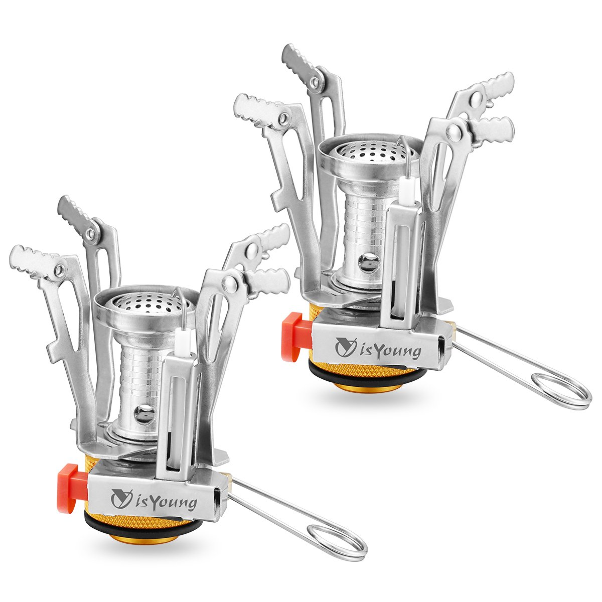 isYoung Outdoor Mini Camping Stove, 2-Pack Ultralight Camping Stove – Portable and Come with Piezo Ignition Orange