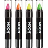 Moon Glow - Blacklight Neon Face Paint Stick / Body Crayon makeup for the Face & Body - Pastel set of 4 colours - Glows brightly under blacklights