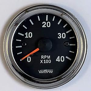 Veethree Tachometer 52mm Electronic 0 – 4000 RPM (Chrome/Black)