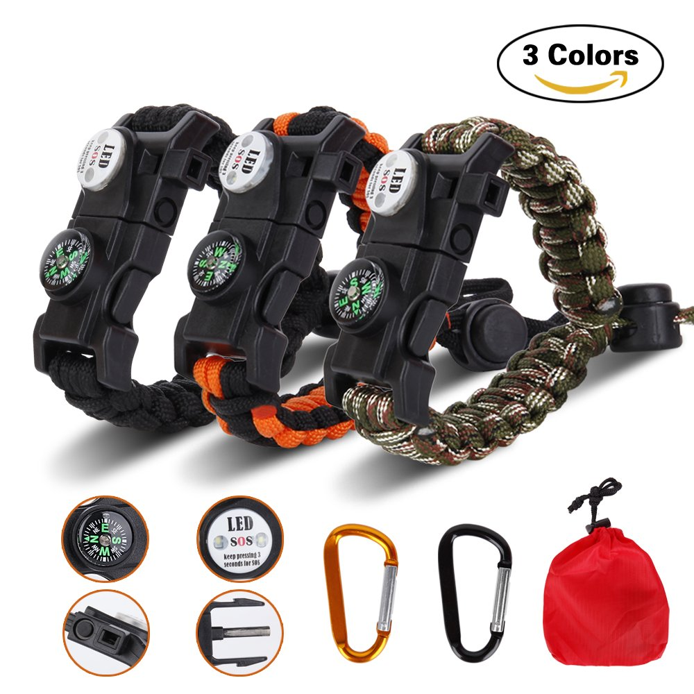 Meetrip 20 in 1 Adjustable Paracord Survival Bracelet, Tactical Survival Gear Kit with SOS LED Light, Emergency Knife, Whistle, Compass, Fire Starter for Camping, Climbing - 3 PACK