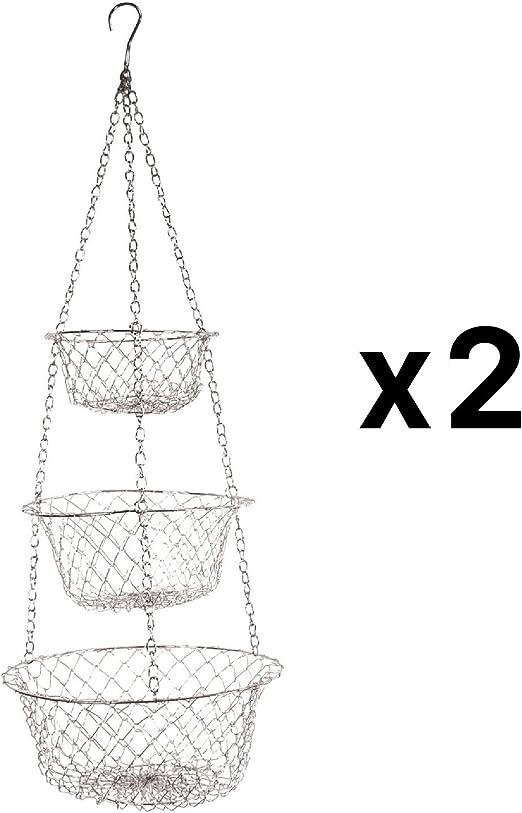 3 Tier Wire Hanging Kitchen Basket Fruit Vegetable Organizer Plant Storage Green