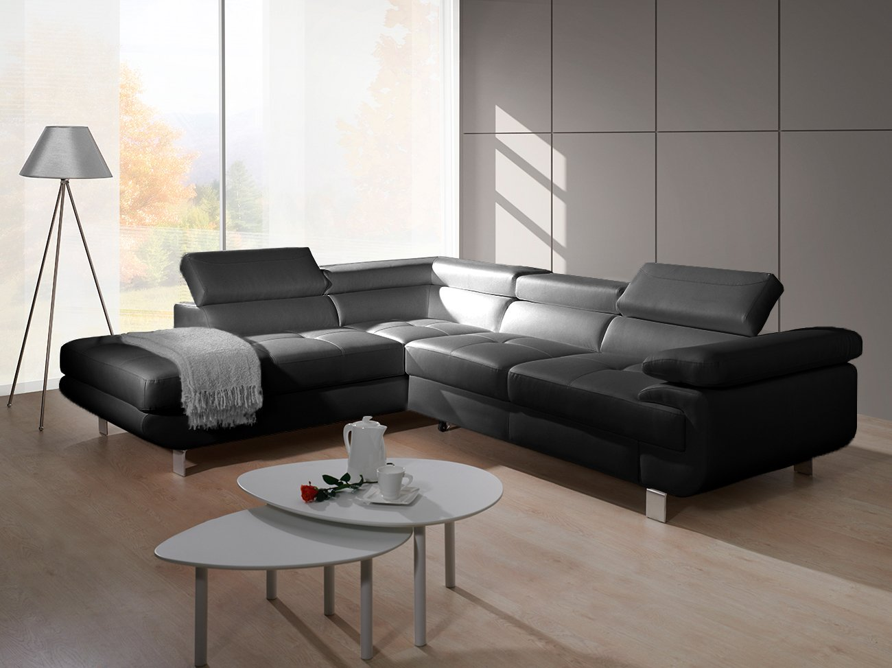 luccia schwarz sofa couch ecksofa l form elegant mit bettkasten schlaffunktion ebay. Black Bedroom Furniture Sets. Home Design Ideas