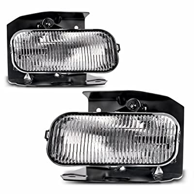 Fog Lights Compatible with 1999-2003 Ford F150 F250 / 1999-2002 Ford Expedition Clear Lens w/ H10 12V 42W Bulbs: Automotive