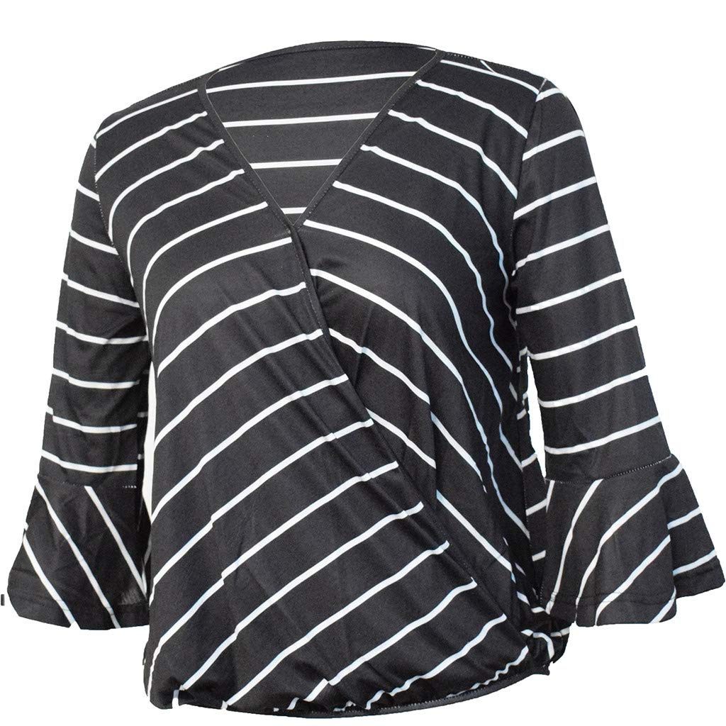 LONGDAY Women Casual T-Shirt Wrap V-Neck Flare Sleeve Shirt Summer Loose Blouse Striped Top Tunic Ladies Pullover Basic Black by LONGDAY-Women Tops (Image #4)