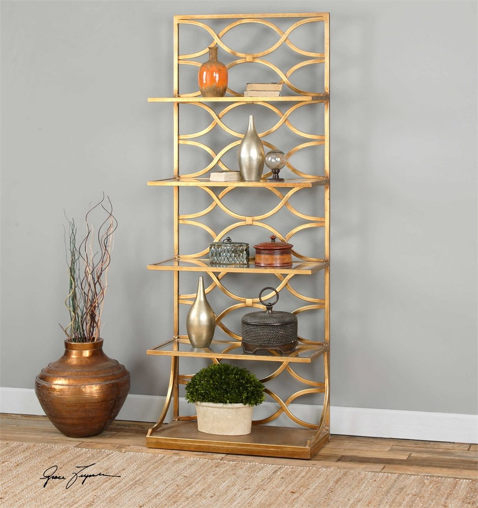 organizer display nola bookcase modern better gold metal glass shelving gardens and storage book itm homes shelf finish