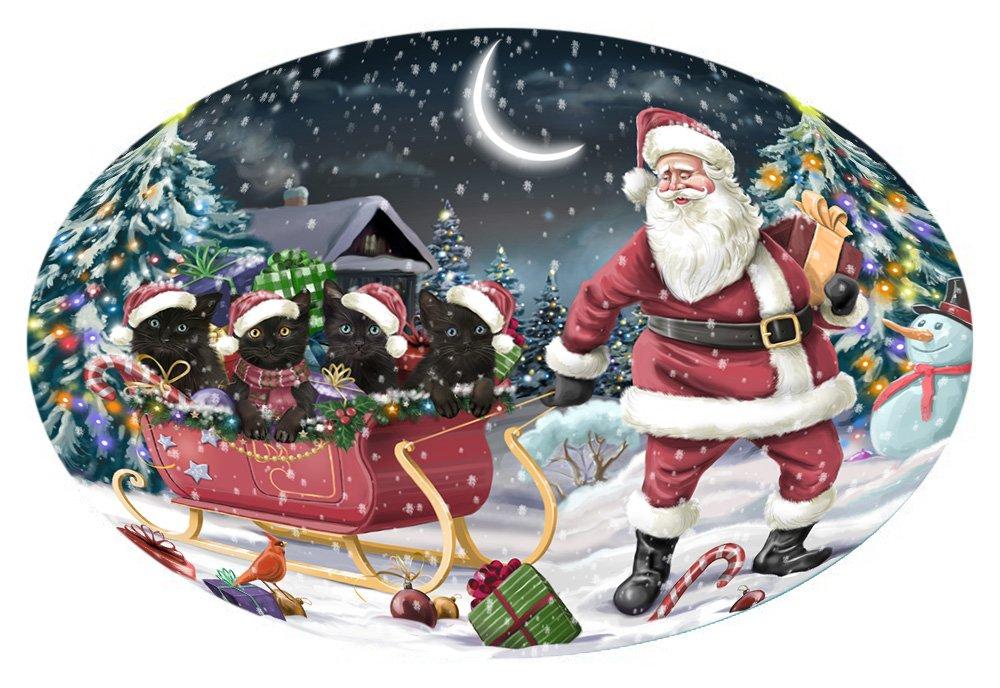 Santa Sled Dogs Christmas Happy Holidays Black Cats Oval Envelope Seals OVE62856 (50)