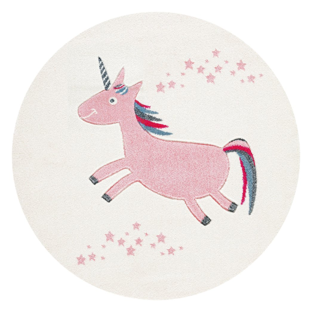 Children`s Rug Happy Rugs UNICORN pink 133cm round livone.de