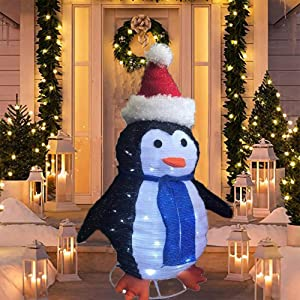 SNOWSTORM 2FT Christmas Penguin 60 LED White with Twinkle Lights, Foldable/Pop Up Decorations Penguin Indoor Outdoor Decor