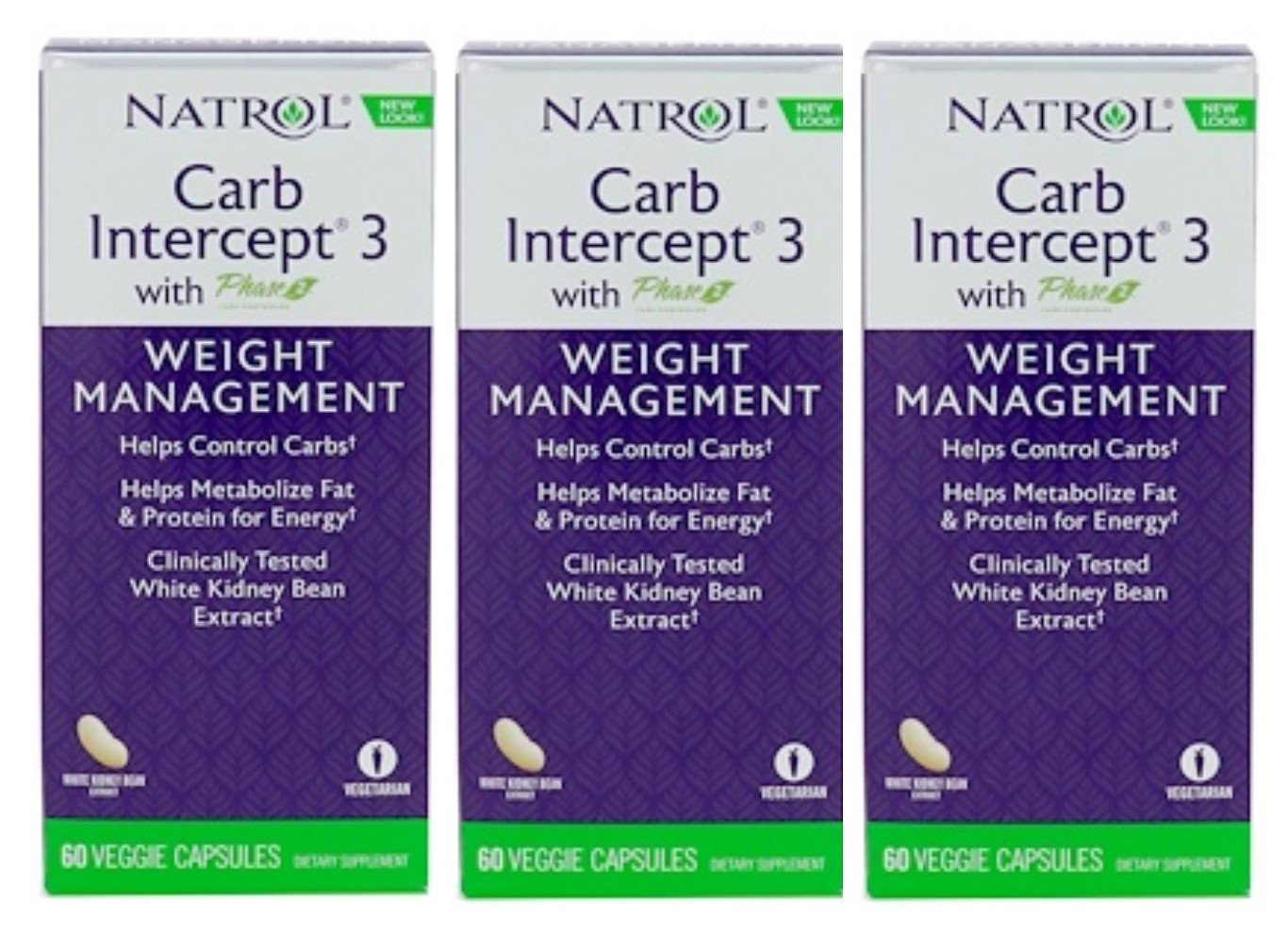 Natrol Carb Intercept 3 Capsules, 60-Count (Pack of 3)