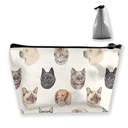 e4f8c26007d8 Amazon.com: customgogo Women's Heads of Cats and Dogs Travel Makeup ...