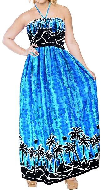 LA LEELA Women\'s Plus Size Summer Casual Tube Dress Beach Cover Up Printed I