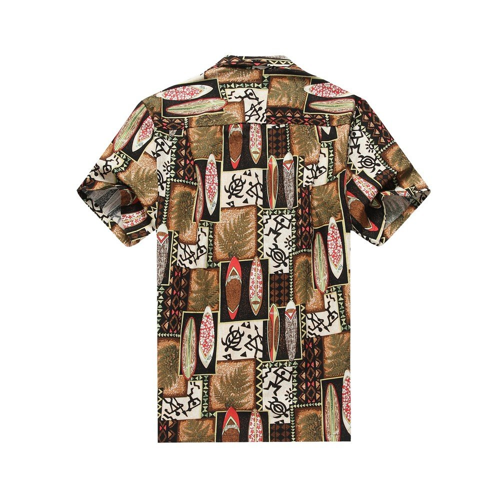 2a42683d2 Made in Hawaii Men's Hawaiian Shirt Aloha Shirt S Quilt Patch Leaf  Surfboards Turtle in Brown: Amazon.co.uk: Clothing