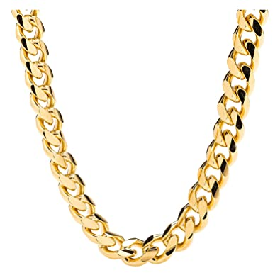 32b963971d21a Hollywood Jewelry Gold Chain Necklace 9MM 24K Round Diamond Cut Smooth  Classic Cuban Link USA Made