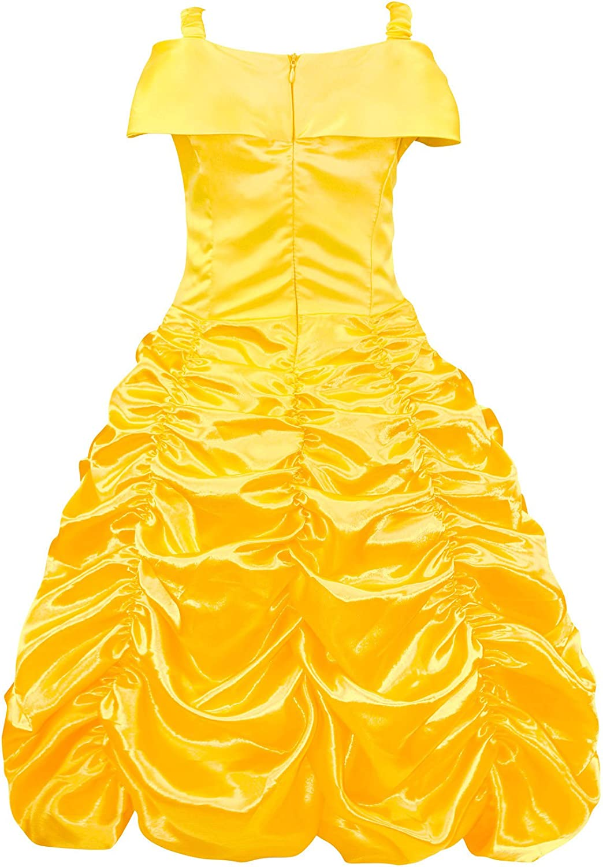 Cotrio Belle Rapunzel Sofia Snow White Cinderellaa Aurora Costume Girl Halloween Party Dress