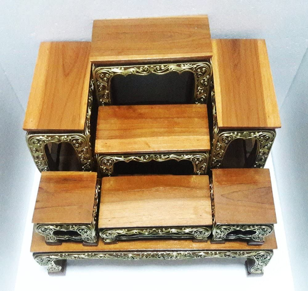 """Design by UnseenThailand Set Of Altar Table, Thai Buddha Show Table Set Made from Teak Wood Carving. (W18\""""xD13\""""(Base Table)) 718osSB4uJLSL1000_"""