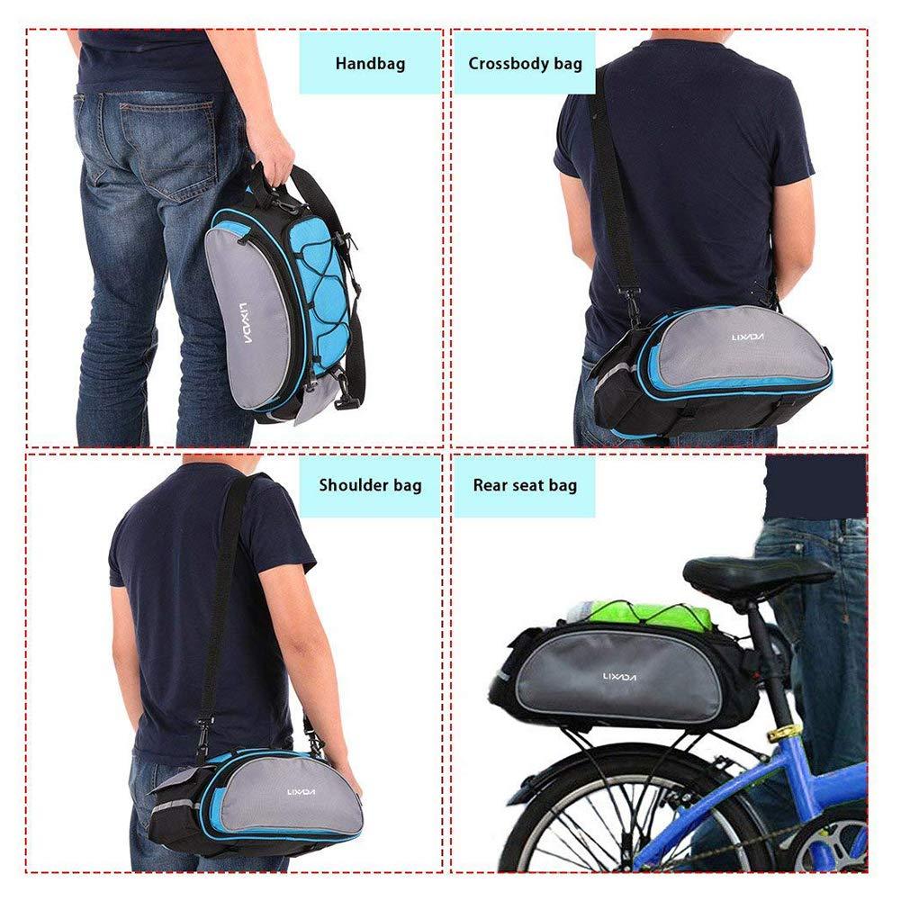 YaptheS Multifunctional Bike Rack Bag Rear Seat Cargo Bag 13L Large Capacity Bicycle Pack Bike Tail Packet Shoulder Bag Handbag Daily Stuff Organizer Blue Storage Bag Practical