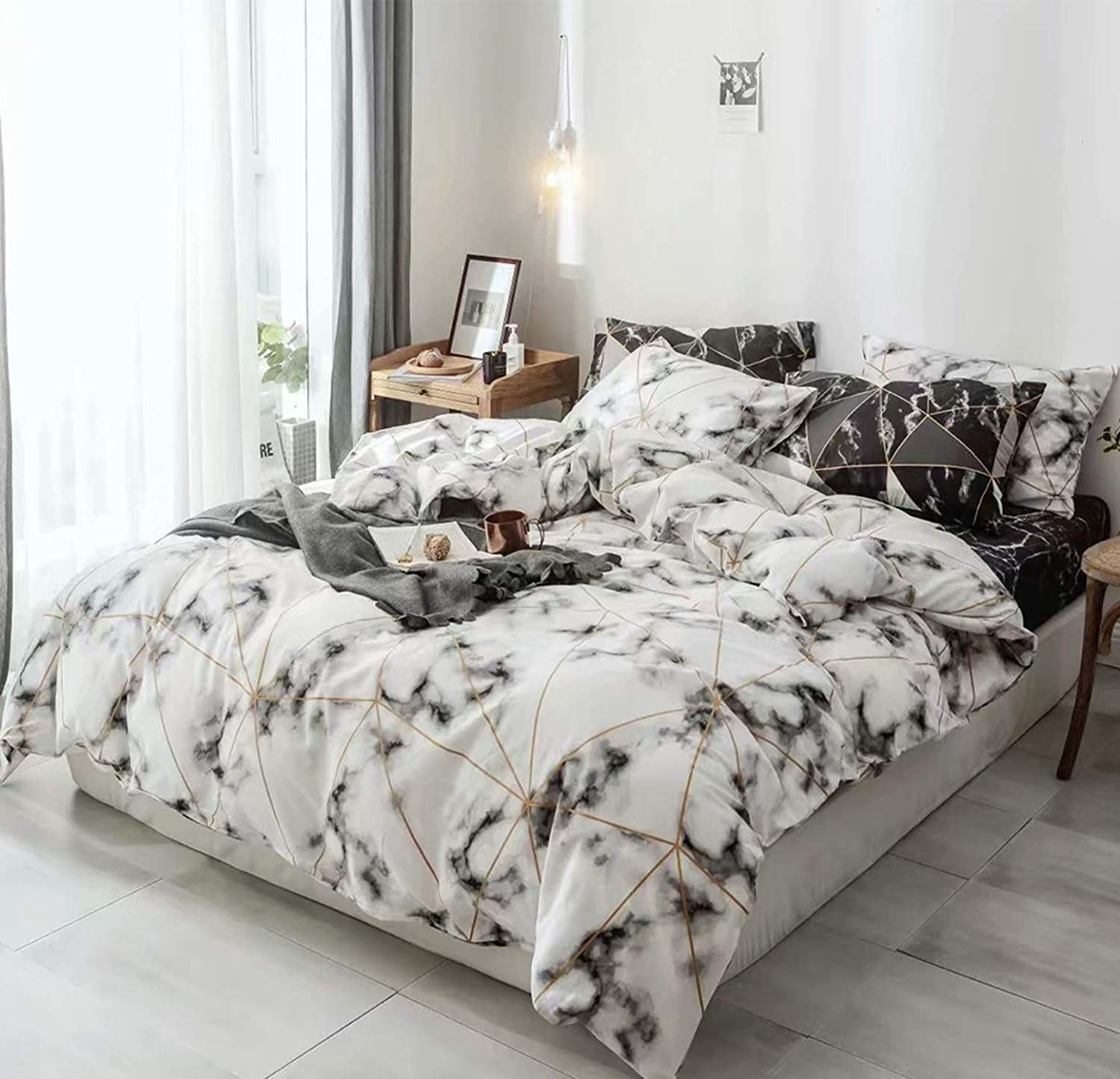 Cottonight White Marble Design Duvet Cover Twin Black and White Bedding Boys Cotton Bedding Set Geometric Abstract Triangle Bedding Duvet Covers 3PC Super Soft