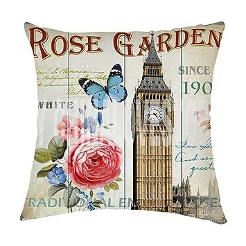 Amazon.com: Rosy Nubes Retro clásico Big Ben de Londres Flor ...