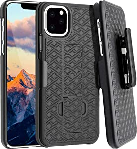 Rome Tech Holster Case with Belt Clip for Apple iPhone 11 Pro - Slim Heavy Duty Shell Holster Combo - Rugged Phone Cover with Kickstand Compatible with iPhone 11 Pro - Black