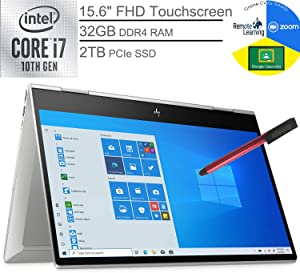 "2020 HP Envy x360 15.6"" FHD Touchscreen 2-in-1 Laptop Computer, 10th Gen Intel Quard-Core i7-10510U, 32GB DDR4, 2TB PCIe SSD, WiFi 6, Webcam, Windows 10, BROAGE 64GB Flash Stylus, Online Class Ready"