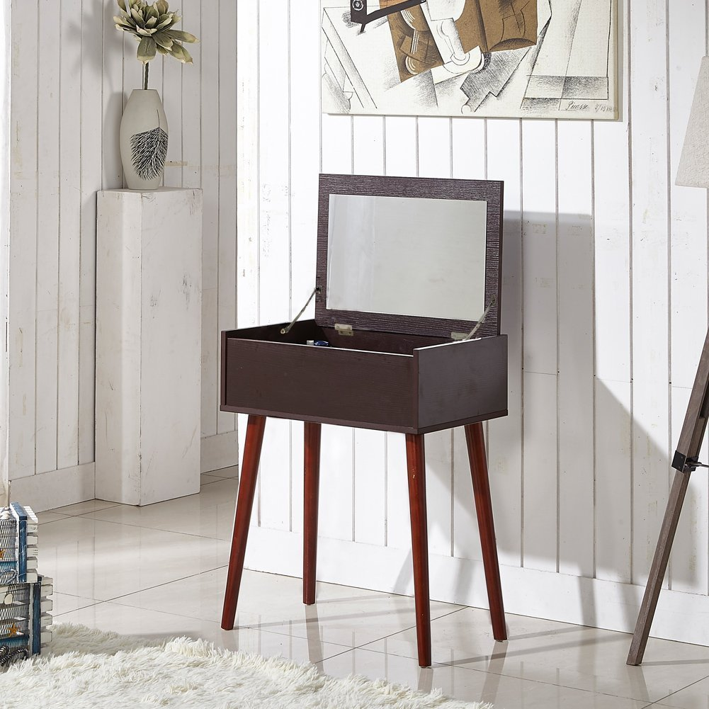 GLS Dressing Table Makup Vanity Desk with Mirror and Solid Wood Legs Nut-brown
