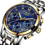LIGE Mens Watches Waterproof Chronograph Stainless Steel Analog Quartz Watch Men Luxury Brand Fashion Dress Business Wristwatch Blue