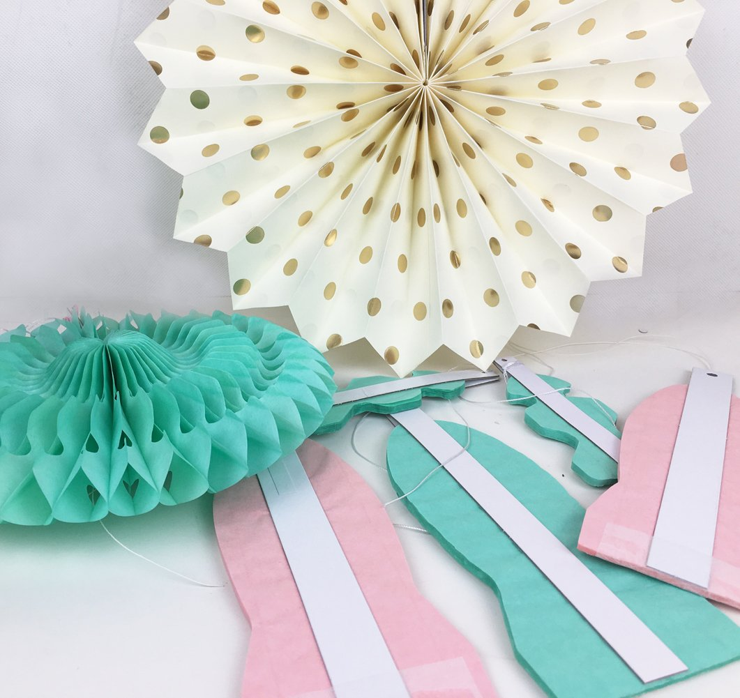 SUNBEAUTY Tissue Paper Fans Decorations Kit Wedding Bridal Shower Baby Shower Birthday Decoration Hanging Paper Honeycomb Decoration Cream Mint Green Rose Pink 7pcs