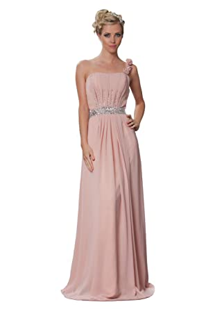 61fff19567 Romantic One Shoulder Bridesmaids Long Evening Dress With Flowers in Light Dusky  Pink colour UK NEXT DAY DELIVERY (UK8)  Amazon.co.uk  Clothing