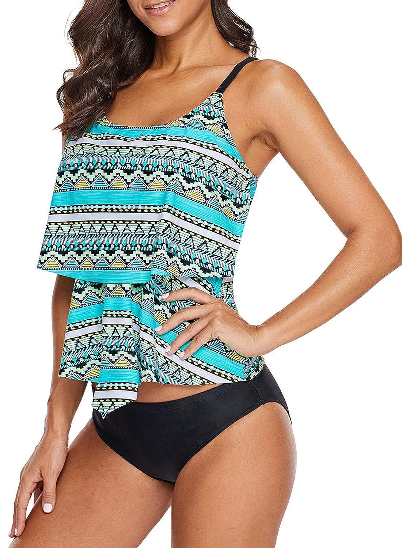 b48bc6c816736 Uniarmoire Tribal Print Tankini Top Ruffled Layered Swimwear for Women at  Amazon Women's Clothing store: