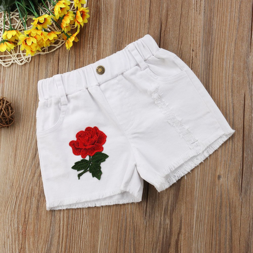 SunnyBaby Baby Girls Rose Embroidery Applique Ripped Hole Denim Shorts