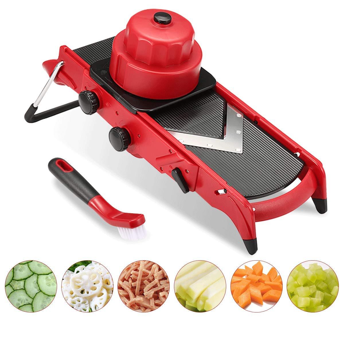 Godmorn Adjustable Vegetable Slicer,Mandoline Slicer,Multi-Function Food Slicer Fruit and Cheese Cutter, Julienne Slicer with 6/9mm Shreds+1-6mm Slices+Cleaning Brush+Safety Sleeve Vegetable Slicer Ovemiliya