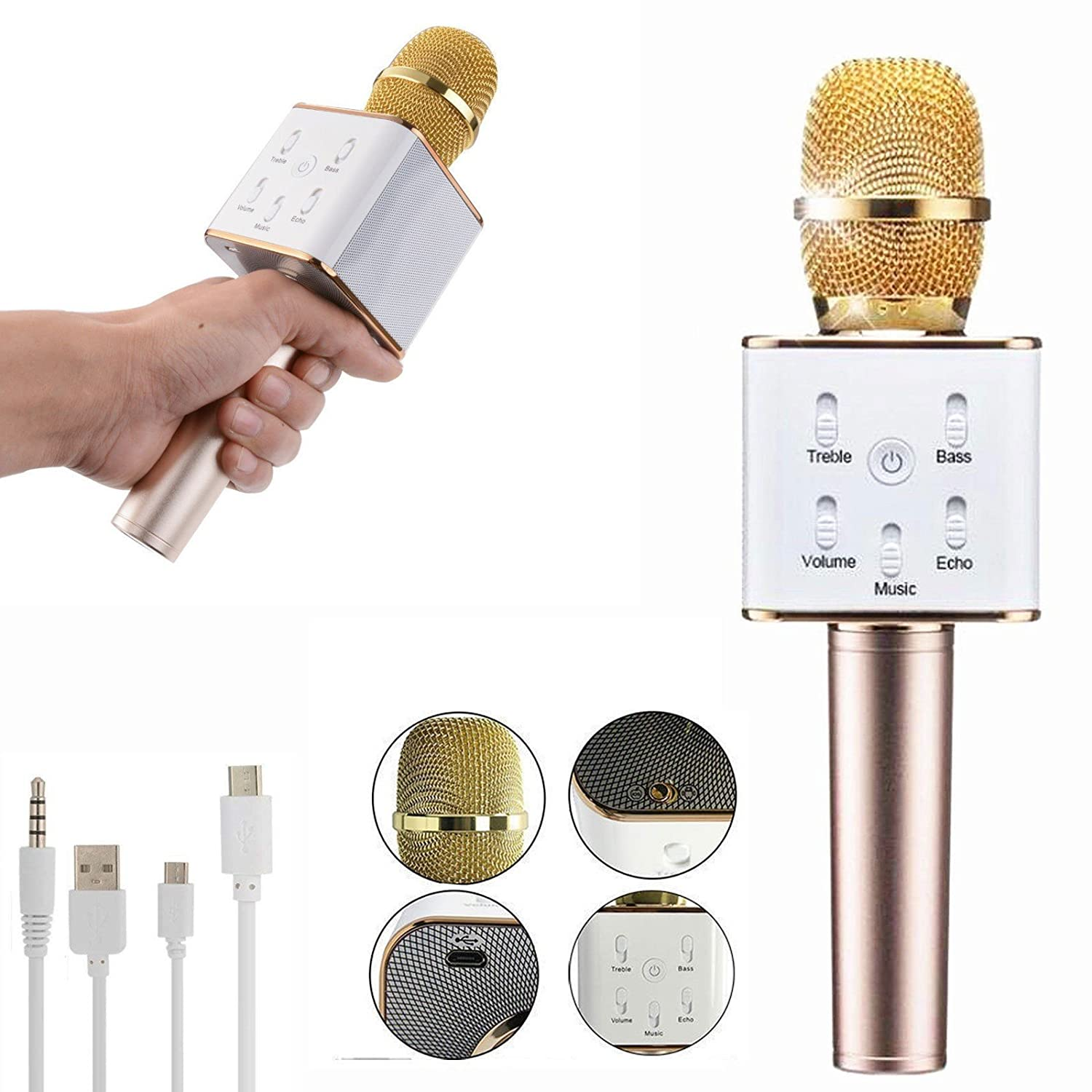 Portable Wireless Bluetooth Karaoke Microphone Q9 Q7 Enhanced Micgeek Ktv With Speaker Handheled Mic Based Players For Phone
