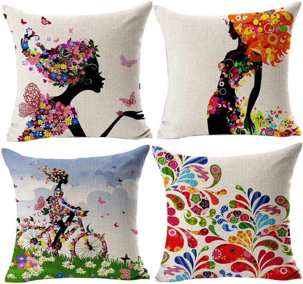 Gspirit 4 Pack Niña Flor Algodón Lino Throw Pillow Case Funda de ...