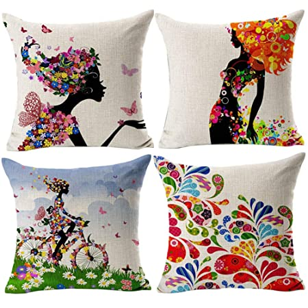 Cuscini Per Divani.Gspirit Federe Ragazza Fiore 4 Pack Cuscini Per Divani Decorativo