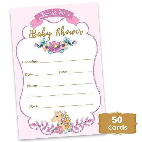 Unicorn Invitaciones Para Baby Shower Diseño De Unicornio
