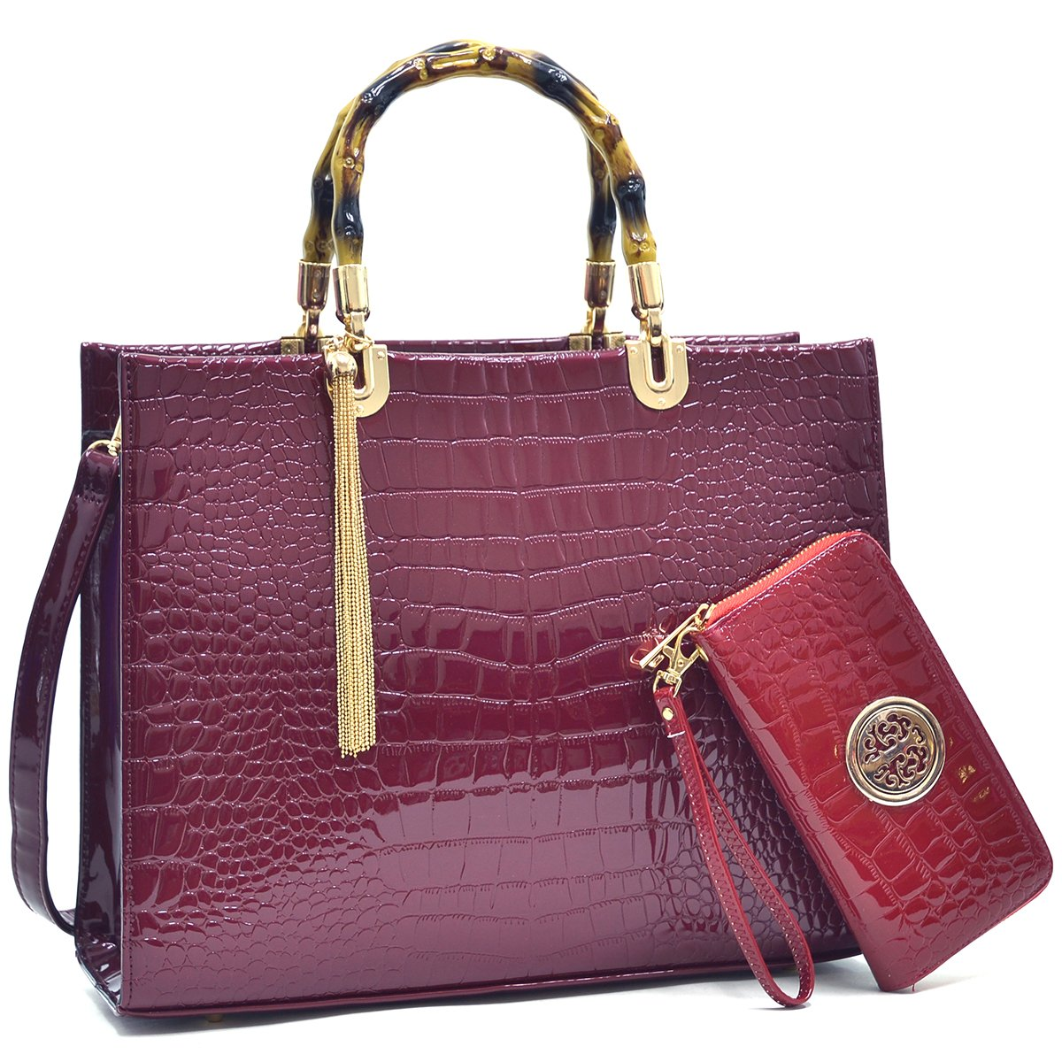 MMK collection Fashion Bamboo handle Handbag with Free wallet set for Women~Signature fashion Designer Purse~ Beautiful Designer Purse & Women Satchel Purse (2022/168) (XL-03-2022 BD(10-168 WN))