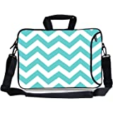 """Kitron(TM) 16 17""""-17.3-Inch Turquoise Mint Green Chevron Water Resistant Neoprene Sleeve Notebook Neoprene Messenger Case Tote Bag with Handle and Carrying Strap"""
