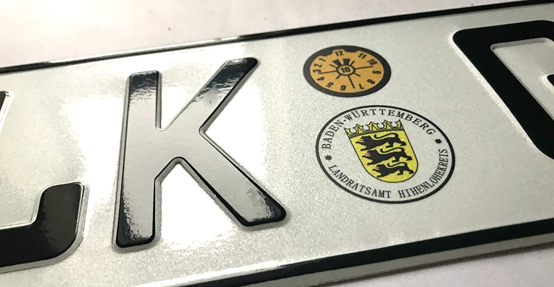 EK Lolosale Embossed 3D European Metal German License Plate Tag for Audi BMW Mercedes Benz Porsche VW Fiat Mini Volvo