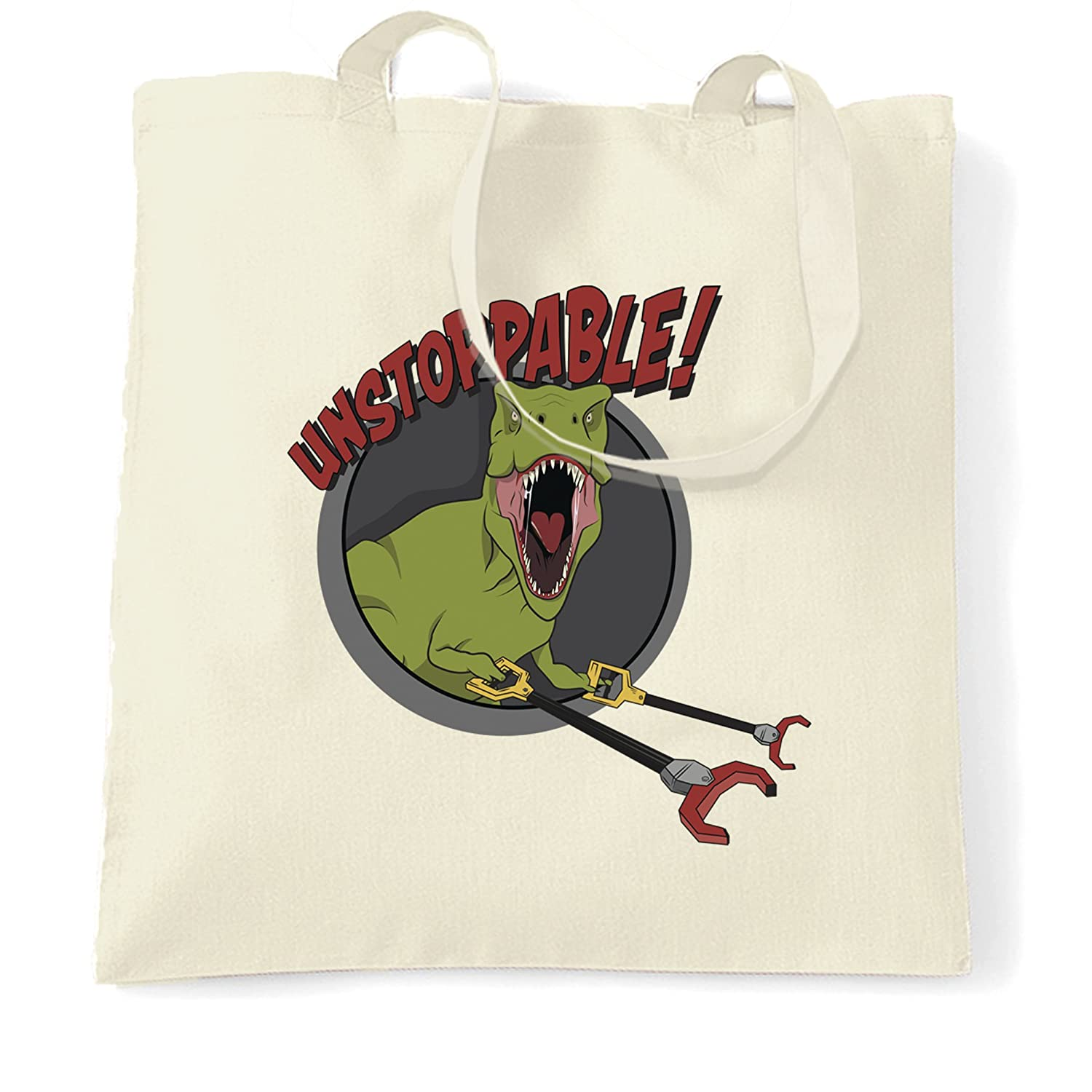 Novelty Tote Bag Unstoppable T-Rex With Grabber Hands Natural One Size   Amazon.co.uk  Kitchen   Home 12c5a9078