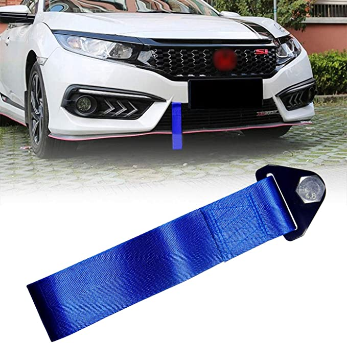 Pursuestar Black Nylon Racing Sports High Strength Tow Strap Drift Rally Emergency Tool for Front Or Rear Bumper Towing Hooks