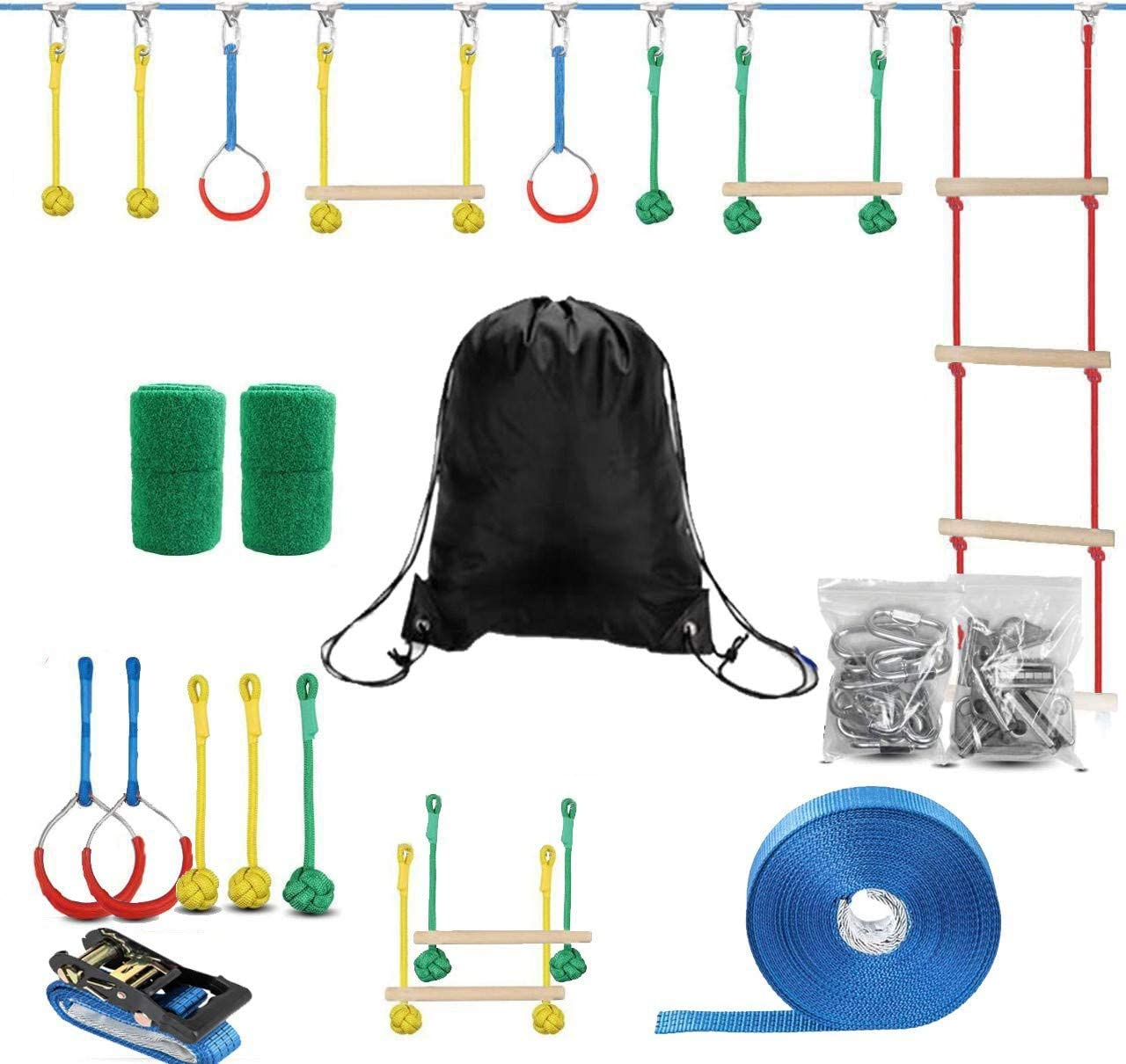 Lucky Link 49ft Ninja Warrior Slackline Obstacle Course, Jungle Gym Monkey Bars Kit for Kids Adults - Rope Ladder, 2 Training Bars, 2 Gymnastics Rings, 3 Fists, Tree Protectors for Outdoor Backyard