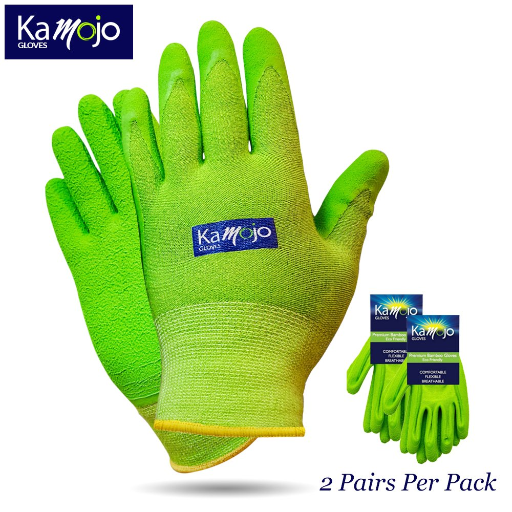Bamboo Gardening Gloves for Women & Men (2 pairs pack) Ultra-Premium & Breathable to Keep Hands Dry - Textured Grip to Reduce Slipping Garden & Work Gloves by Kamojo (Small)