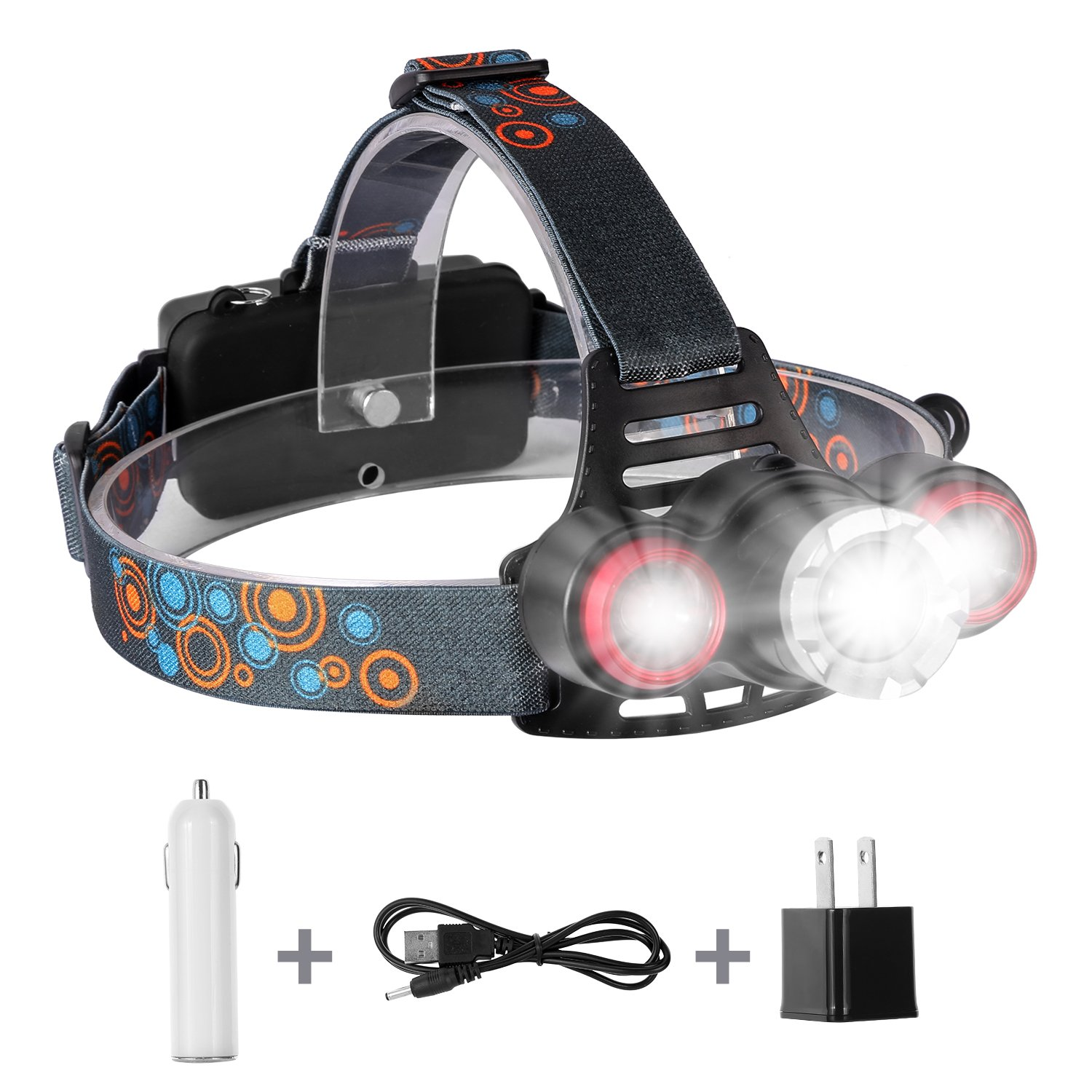 yIFeNG LED Headlamp, Zoomable Super Bright Headlight, Perfect for Camping Hunting Fishing