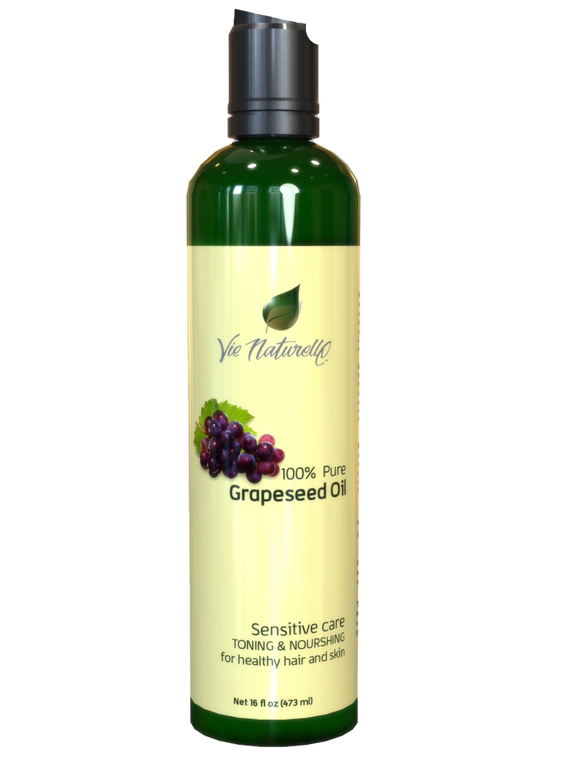 Vie Naturelle Grapeseed Oil for Hair, Cooking, & Skin - 100 % Pure Hexane Free - No Fillers, Dyes or Artificial Ingredients of Any Kind, 16 fl. oz.