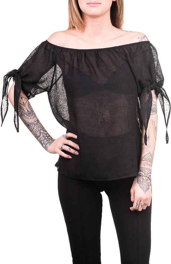 Emanuela. Blusa en garsa en relieve negra transparente. (L): Amazon.es: Ropa y accesorios