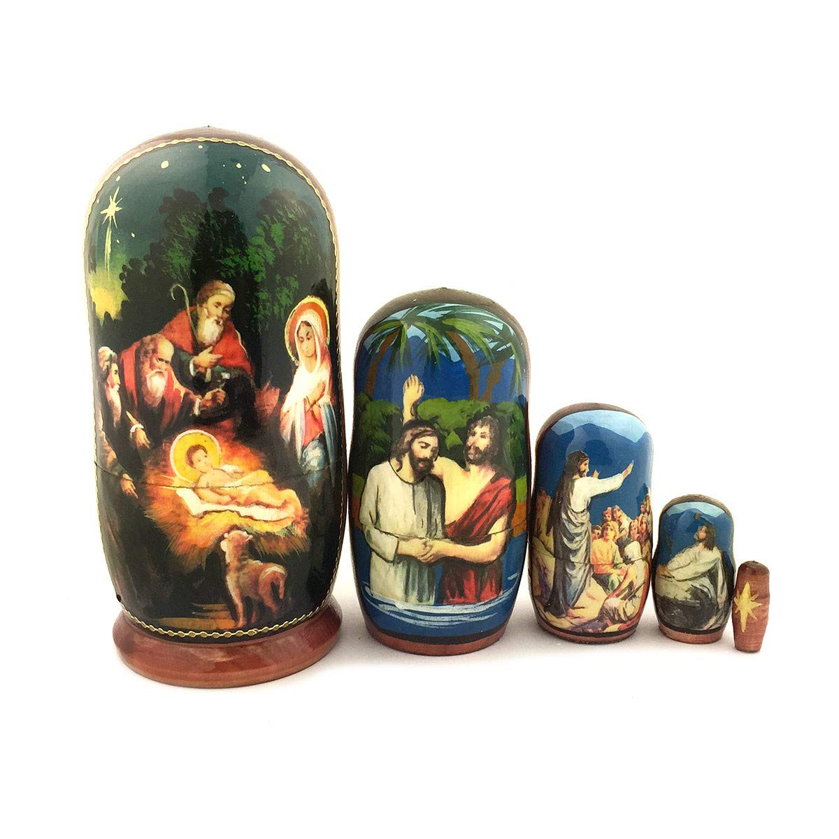 World Faith Russian Nesting Doll Nativity Doll Hand Painted 5 Nested 4-1/4 Inch Nesting Doll