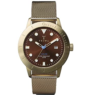 Triwa Chestnut Brown Hvalen with Gold Mesh Band Unisex Mens Watch HVST104 ME021313
